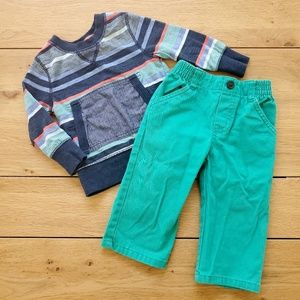Genuine Kids Striped Shirt with Green Pants